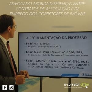 Advogado aborda diferenças entre contratos de associação e de emprego dos corretores de imóveis